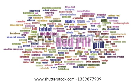 Red Pill Tag Cloud Aligned Isolated On White