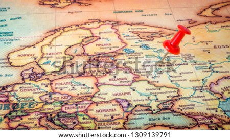 Close up of Moscow , Russia map with red pin Images and Stock Photos ...