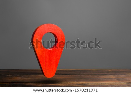Red pin pointer location on a gray background. Concept of navigation. Tourism and travel. Logistics and the construction of optimal routes. Interesting places and attractions. #1570211971