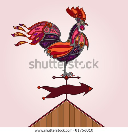 red, pink and orange colored stylized rooster on rooftop