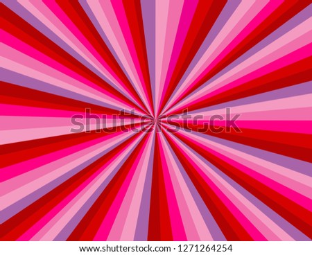 Red, pink, and purple abstract burst of rays. Perspective with concentration lines.  Groovy, psychedelic Valentines background.