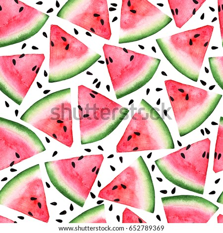 red pink watermelon slice and seed seamless watercolor  background for web, paper, texture,textile, design, logo,label, tag, sale, clothes and brand package. isolated on white hand draw illustration - Shutterstock ID 652789369