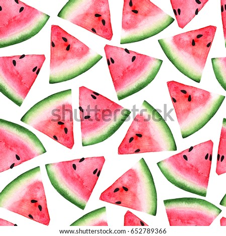 red pink watermelon slices seamless watercolor pattern wallpaper for web, paper, texture,textile, design, logo,label, tag, sale, clothes and brand package. isolated on white hand draw illustration - Shutterstock ID 652789366