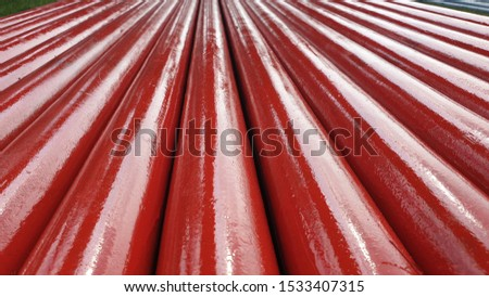 Red Piping with close up view closely stacked