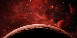 Red planet and galaxy. Elements of this image furnished by NASA.