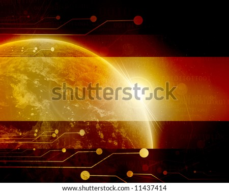 Red planet earth in outer space with technology elements