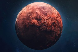 Red planet Mars in outer space. Terraforming of planet. Part of solar system. Elements of this image furnished by NASA.