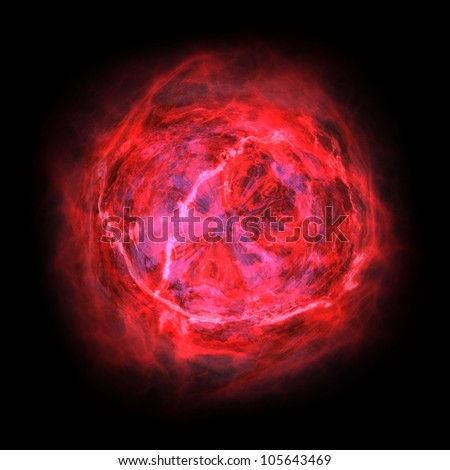 red planet on black background
