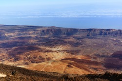 red planet's desert landscape. Teide National Park. Beautiful view of Teide volcano. Desert Crater of Teide volcano.Mount Teide in Tenerife. Canary Islands