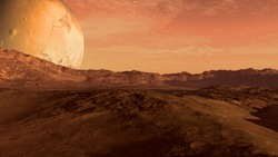 Red planet with arid landscape, rocky hills and mountains, and a giant Mars-like moon at the horizon, for space exploration and science fiction backgrounds. Elements of this image furnished by NASA.