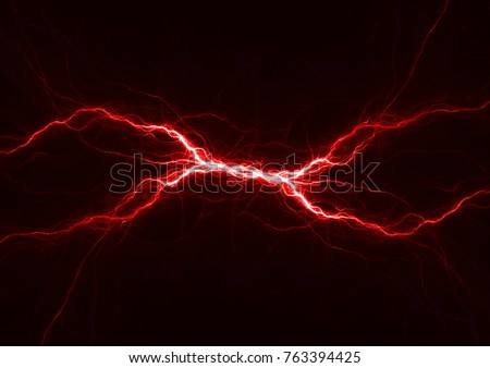 Red plasma lightning, abstract electrical background