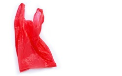 Red plastic bag on white background. Copy space