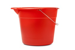 Red Plastic Bucket for Cleaning on White Background