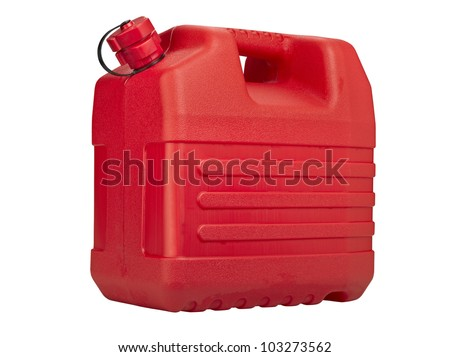 Red plastic can isolated on white background, clipping path
