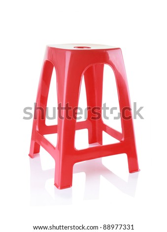 red plastic chair isolated on white background