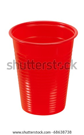Red plastic cup isolated