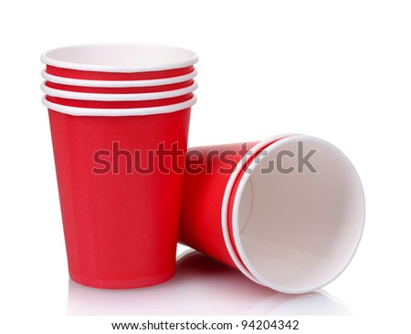 red plastic cups isolated on white