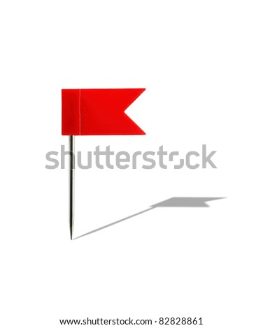 Red plastic flag pin isolated on white background with clipping path - stock photo