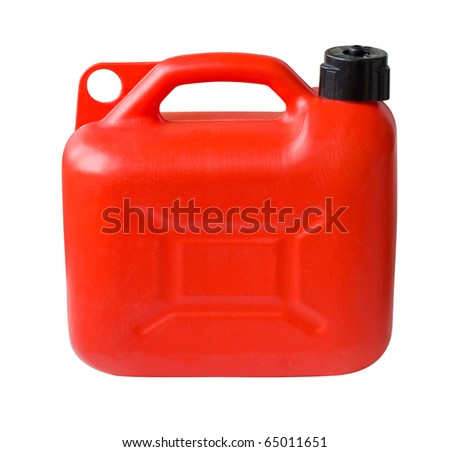 Red Plastic Gas can (fuel container) isolated with clipping path