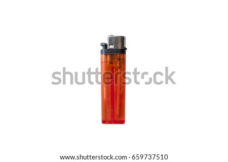 Red plastic gas lighter. Gas lighter isolated on white background. Closeup shot, top view - Shutterstock ID 659737510