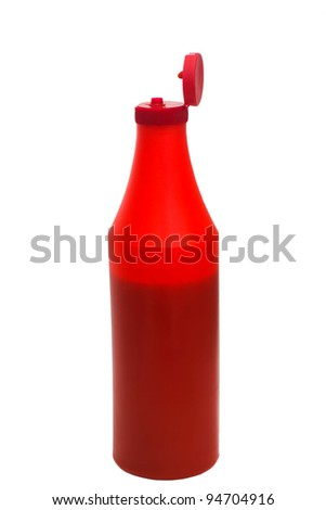 red plastic ketchup bottle isolated on white background