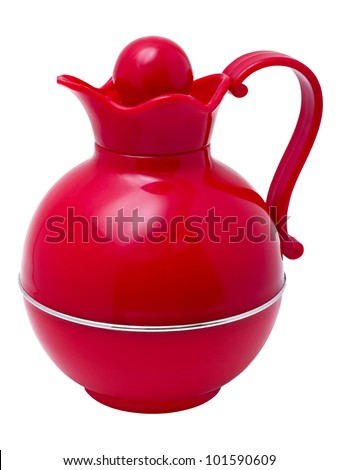 red plastic thermos jug in the form of isolated on white background