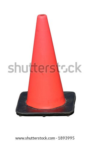 Red plastic traffic safety cone