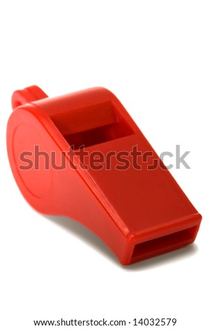 Red plastic whistle on a white background