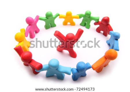 red plasticine puppet standing in the middle of a circle of colorful fellows