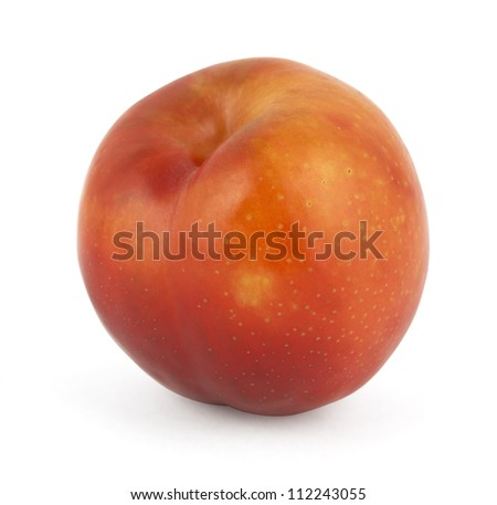Red plum isolated on white background - stock photo