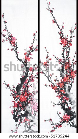 Red Plum-Traditional Chinese Painting.