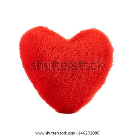 Red plush heart toy isolated over white background