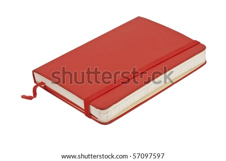 Red pocket journal on white