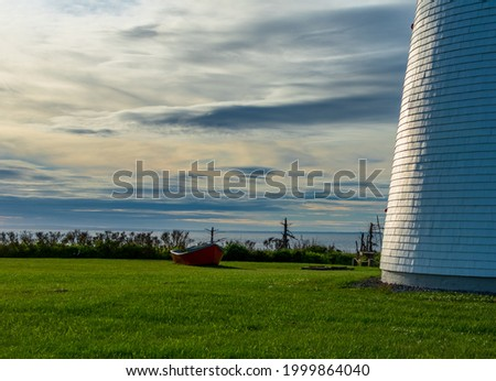 Red point next to lighthouse at point prim prince edward islad Stock foto ©