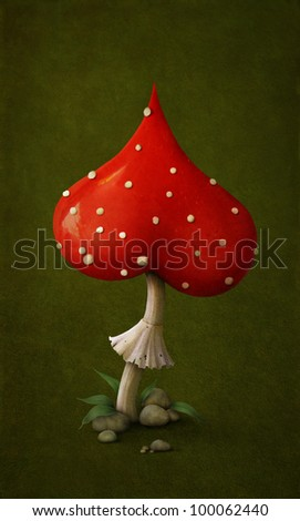 Red poisonous mushroom in form of  symbol heart. Illustration or  postcard. Computer Graphics.