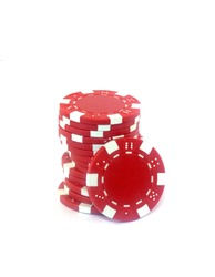 Red poker chips isolated on white background