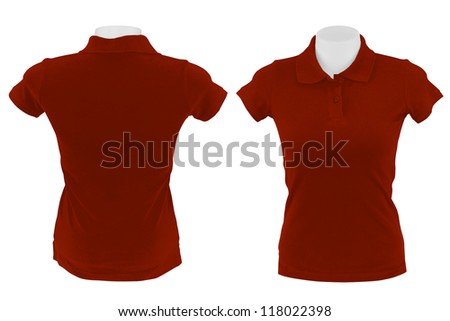 red polo shirt on white background