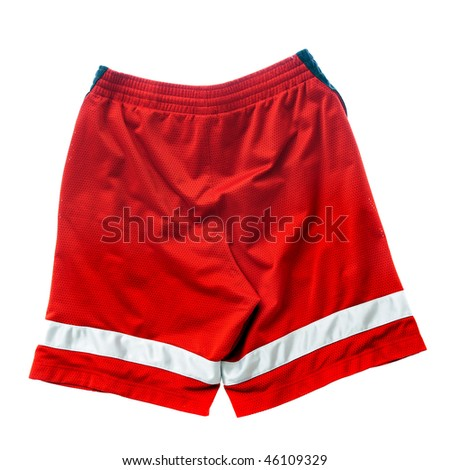 Red polyester nylon red basketball sportswear shorts isolated on white background.