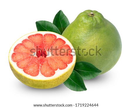 Red Pomelo citrus fruit with leaves isolated on white background. Pomelo on white with Clipping path Foto stock ©
