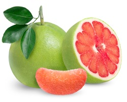 Red Pomelo citrus fruit with leaves on white background, Pomelo isolated on white background with Clipping path,