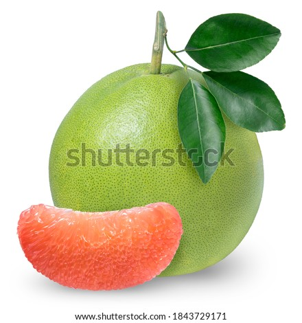 Red Pomelo citrus fruit with leaves on white background, Pomelo isolated on white background with Clipping path, Foto stock ©