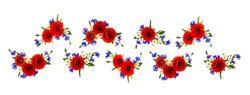Red poppies, cornflowers and chamomile on white background. Floral border