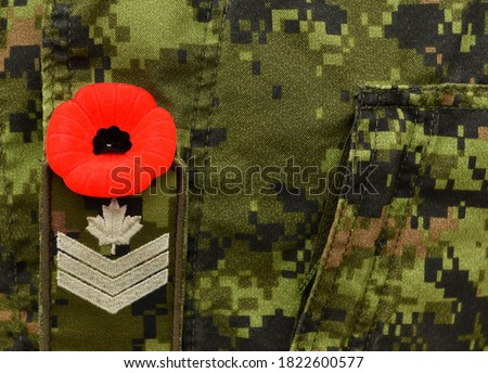 Red Poppy on the Canadian military uniform. Canadian soldiers. Army of Canada. Remembrance Day. Poppy day.