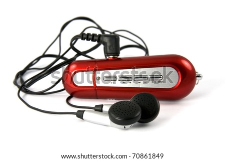 red portable music player on white background