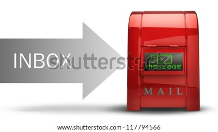 Red Postbox with Electronic screen (INBOX) isolated on white background 3d illustration High resolution
