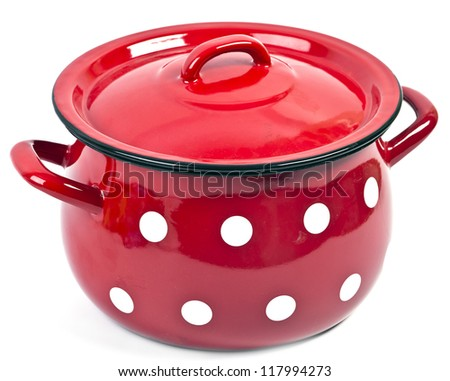 Red pot with cover - stock photo
