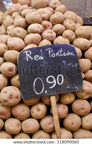 Red potatoes on the public market Mercat St. Josep. The Boqueria is a market hall for fish, meat, vegetables, fruits and foods of all kinds and a major attraction in Barcelona