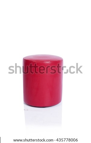 Red pouf chair furniture isolated on the white background #435778006