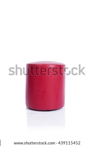 Red pouf chair furniture isolated on the white background #439115452