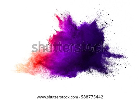 Red powder explosion on white background. Colored cloud. Colorful dust explode. Paint Holi. - Shutterstock ID 588775442